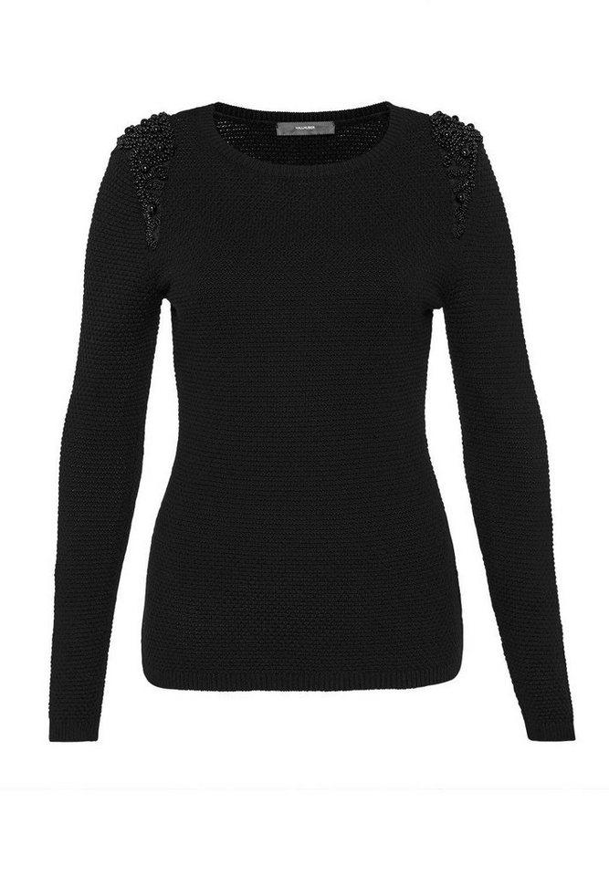 HALLHUBER Pullover mit Perlmuster in schwarz