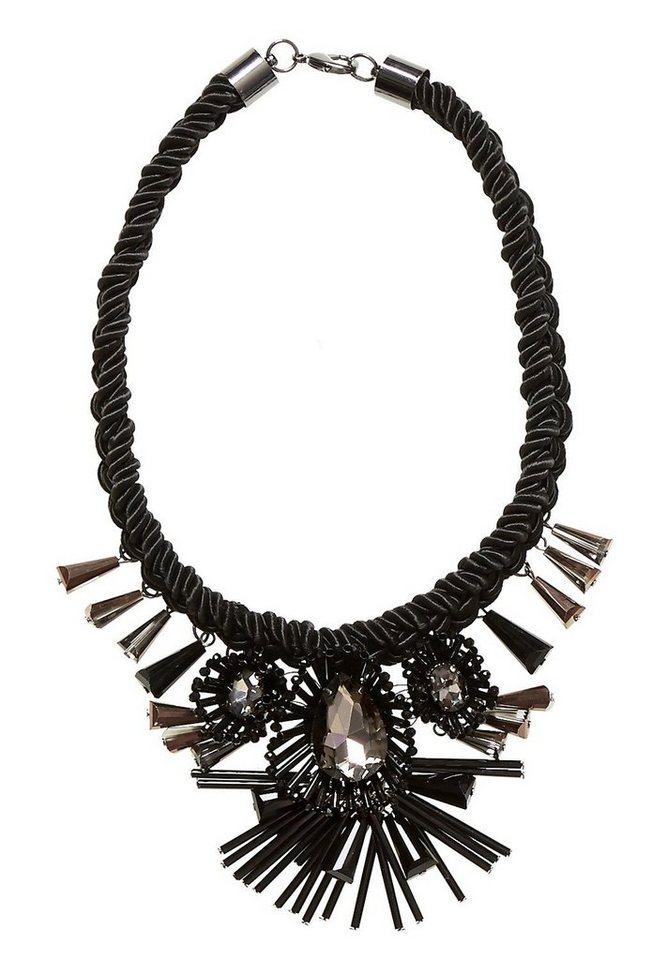 HALLHUBER Collier mit Kordel und 3D-Blüten in schwarz