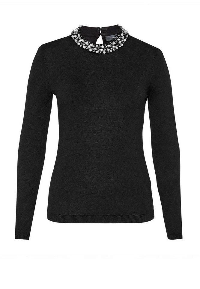 HALLHUBER Pullover mit perlenbesticktem Stehkragen in schwarz
