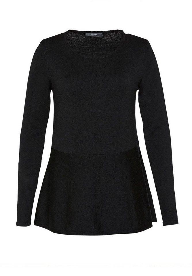 HALLHUBER Wollpullover mit Volant in schwarz
