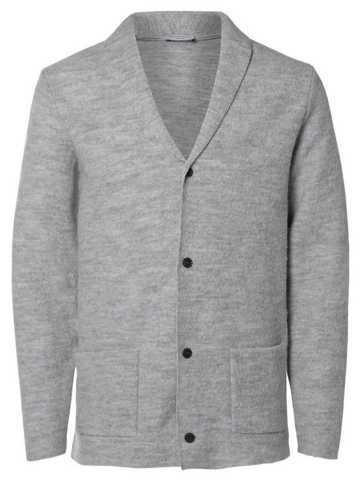 Selected Woll- Strick-Cardigan in Light Grey Melange