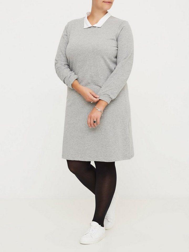 JUNAROSE Langärmeliges Kleid in Medium Grey Melange