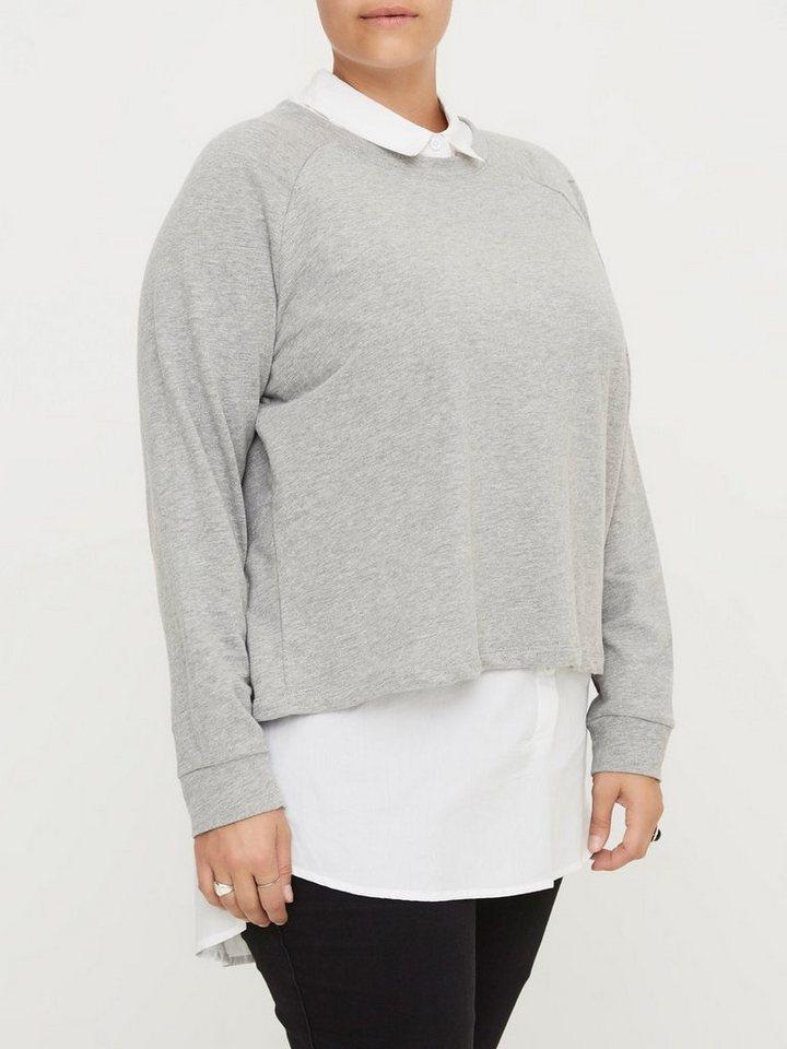 JUNAROSE Langärmelige Sweatshirt in Medium Grey Melange