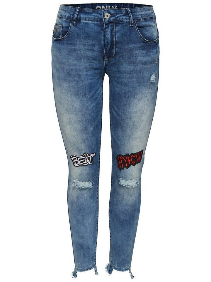 Only Carmen reg badge Skinny Fit Jeans in Medium Blue Denim