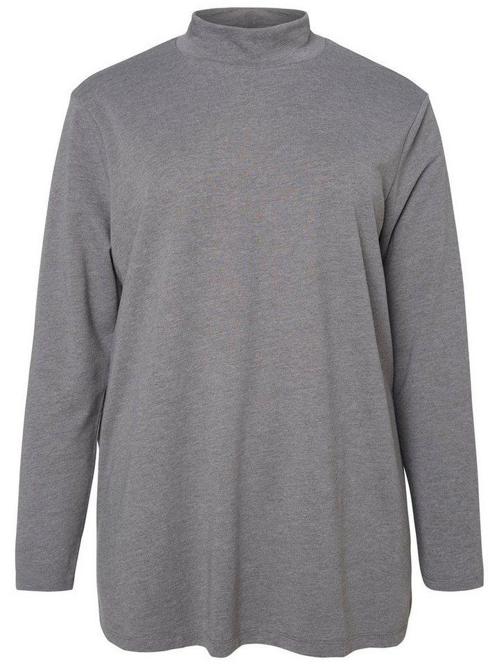 JUNAROSE Langärmelige Bluse in Medium Grey Melange