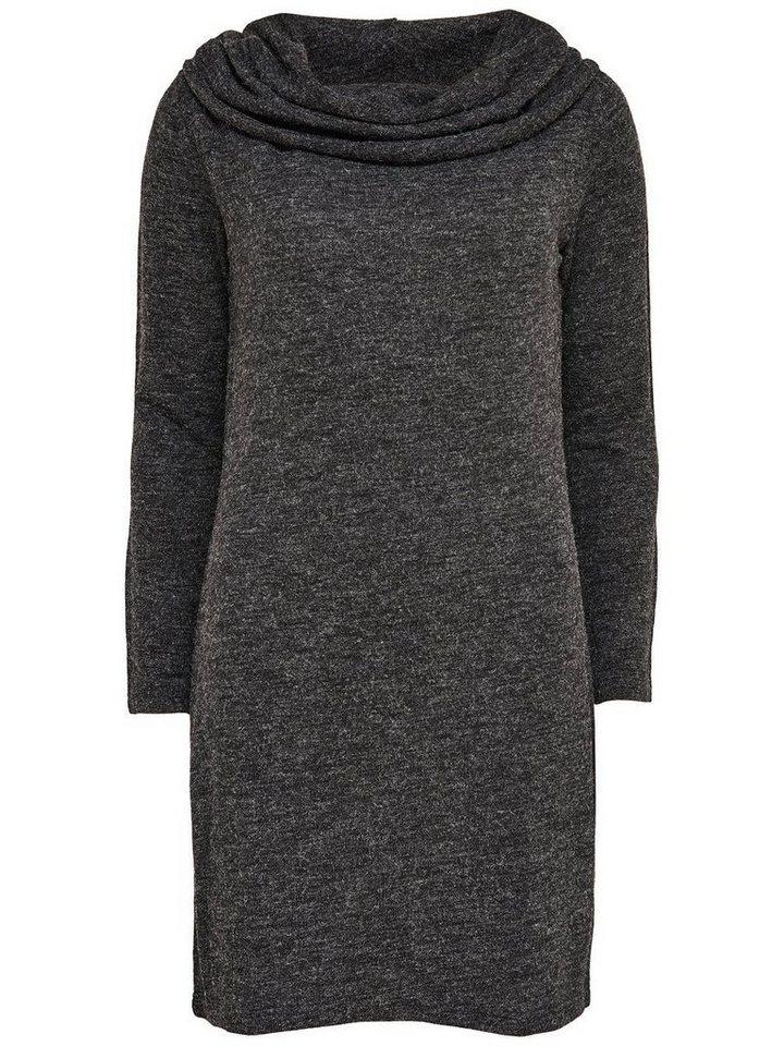 Only Einfarbiges Kleid mit langen Ärmeln in Dark Grey Melange
