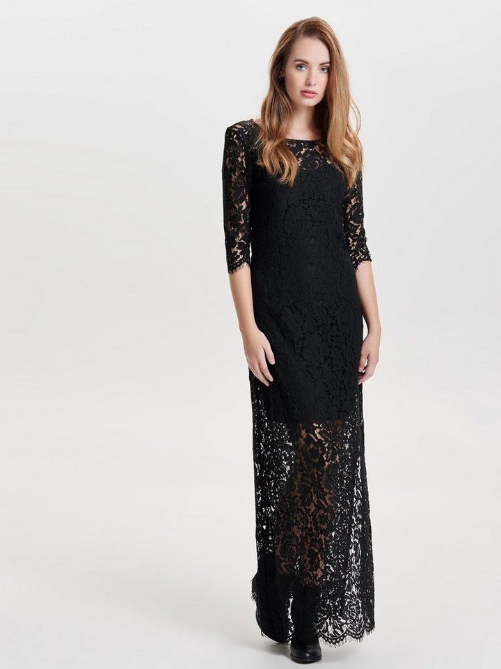 Only Spitzen- Maxikleid in Black