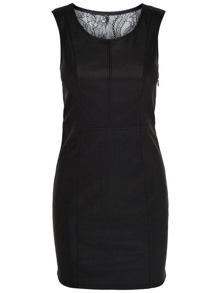 Only Lederlook- Kleid ohne Ärmel in Black