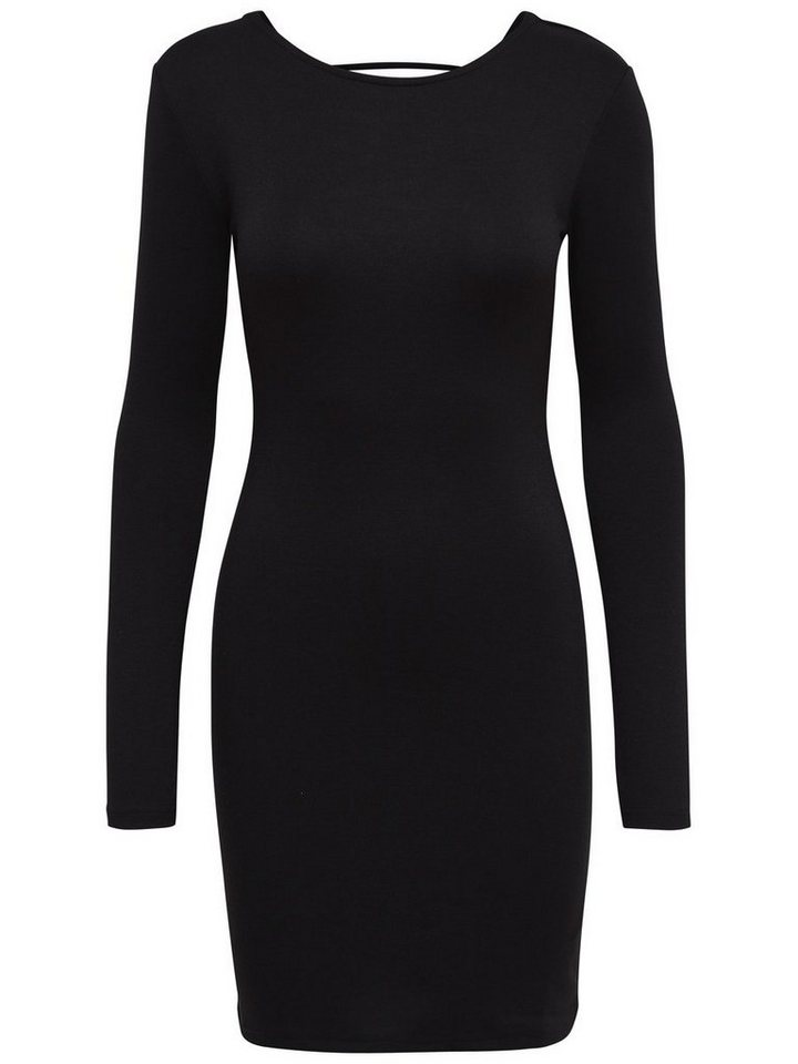 Only Lace-up front back Long Sleeved dress in Black