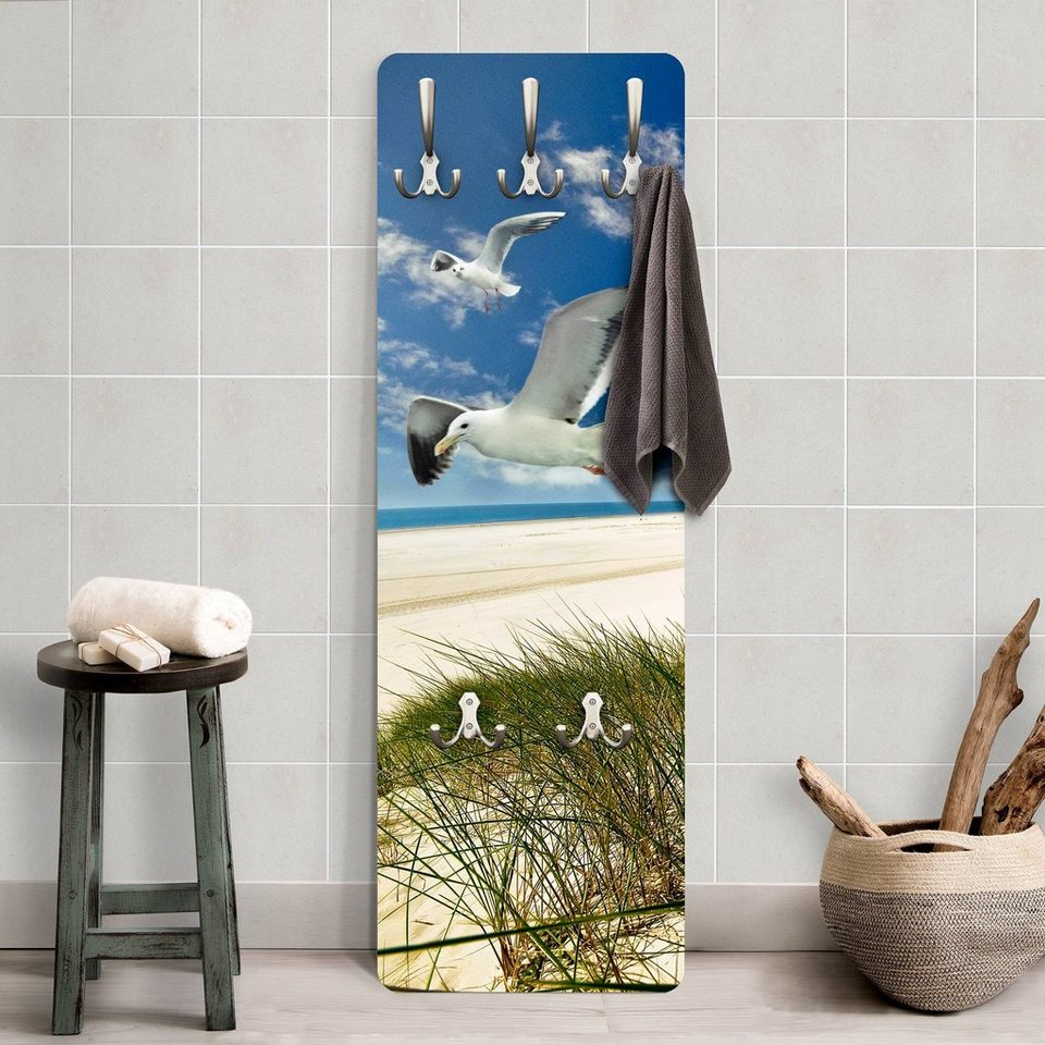 Bilderwelten Wandgarderobe »Dune Breeze Möwen« in Farbig
