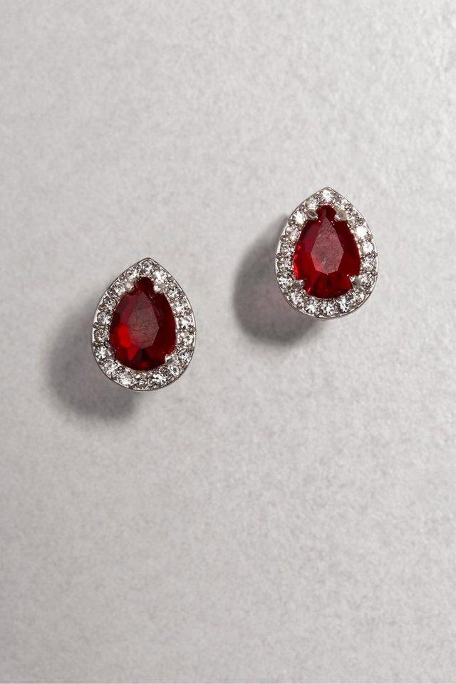 Next Platinbeschichtete Ohrringe mit Stein in Red