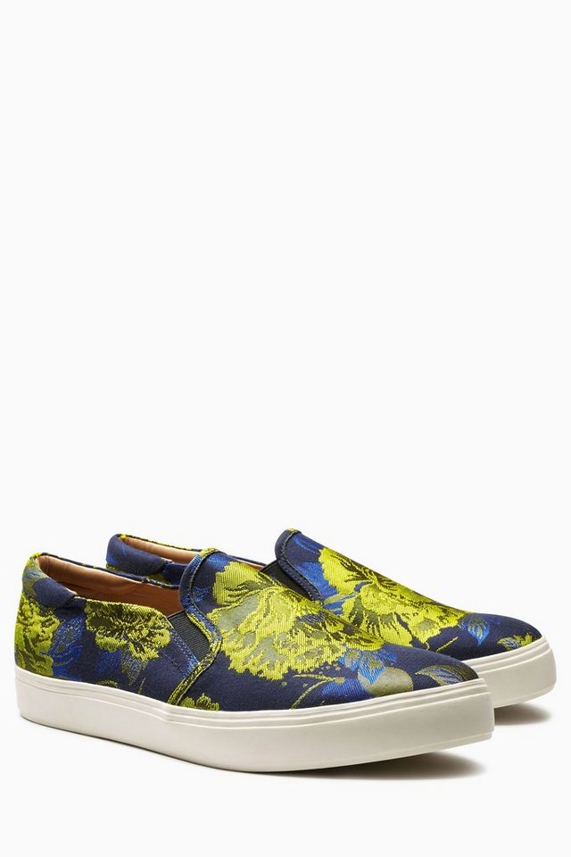 Next Slip-On Sneaker mit floralem Muster in Blue