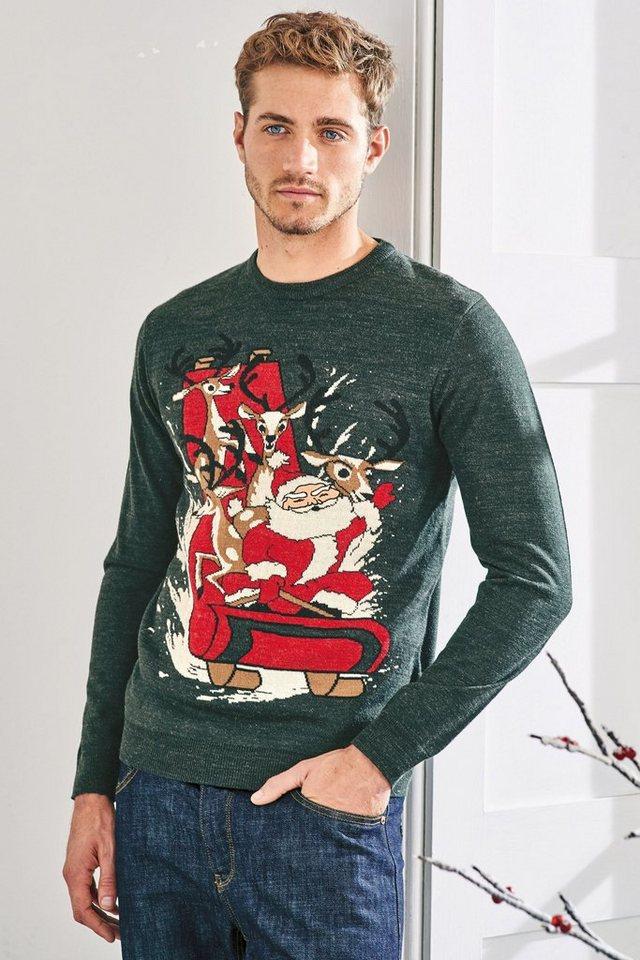 Next Rundhalspullover mit Weihnachtsmann in Green