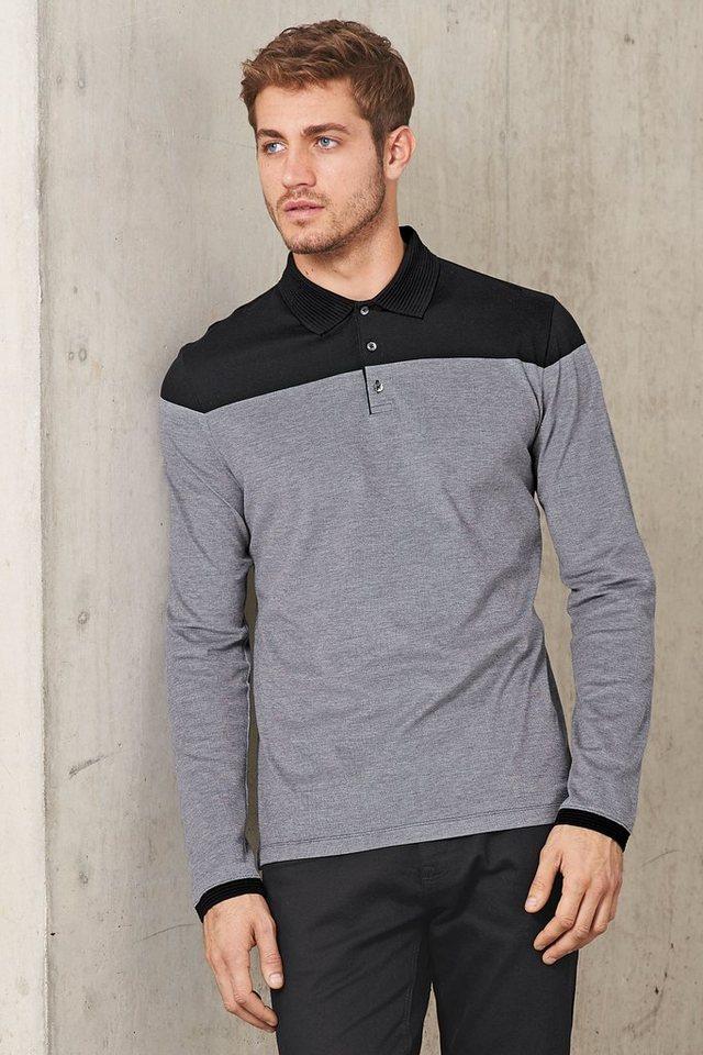 Next Langärmeliges Premium-Poloshirt in Blockfarben in Grey