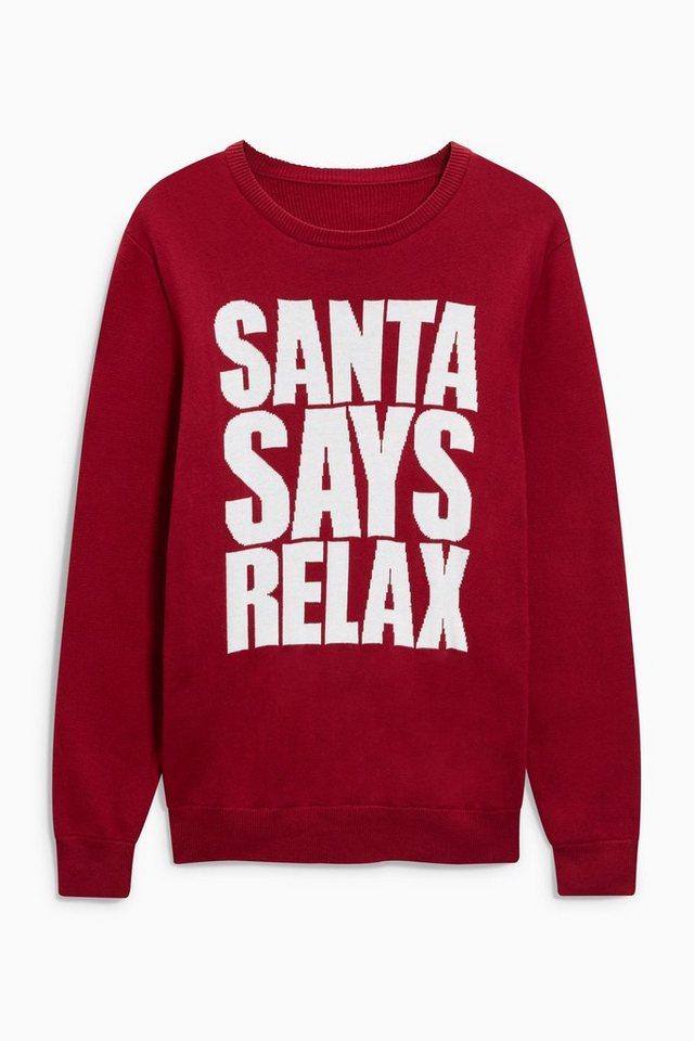 Next Rundhalspullover mit Weihnachtsslogan in Red