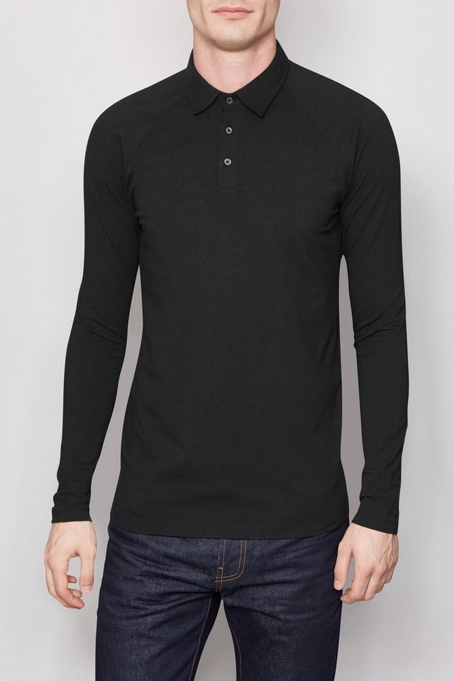Next Langärmeliges Muscle Fit-Poloshirt in Black