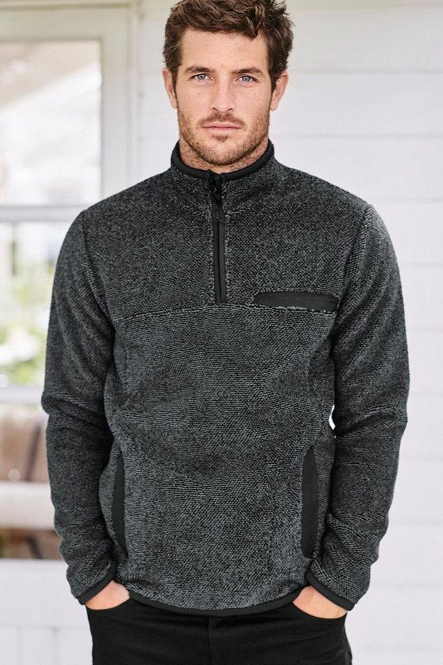 Next Fleece-Sweatshirt mit halbem Reißverschluss in Grey