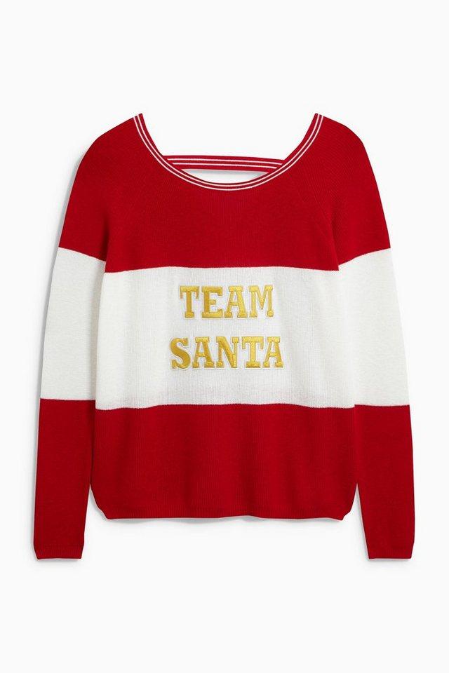 Next Sweatshirt mit weihnachtlichem Slogan in Red