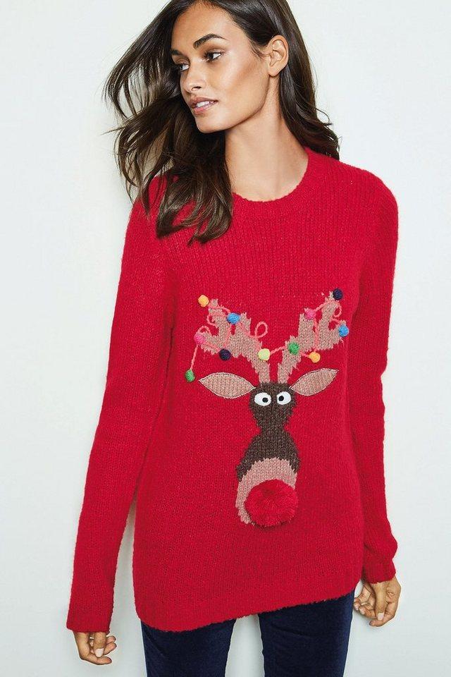 Next Pullover mit Rudolph-Rentier-Motiv in Red
