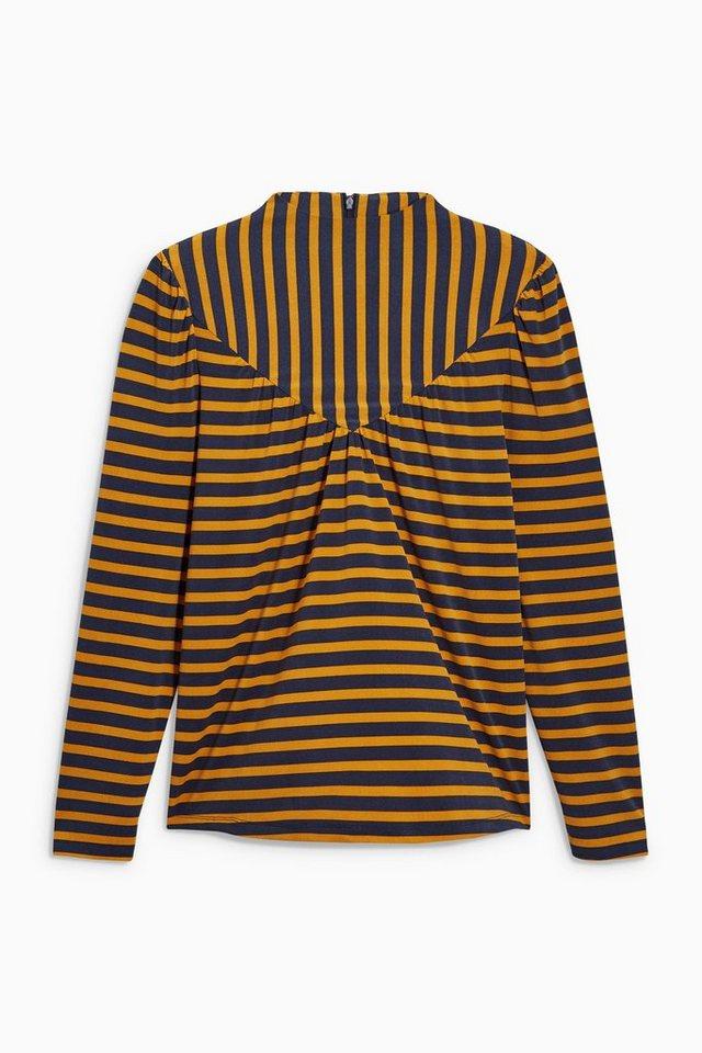 Next Langärmeliges Oberteil in Navy/Yellow Stripe