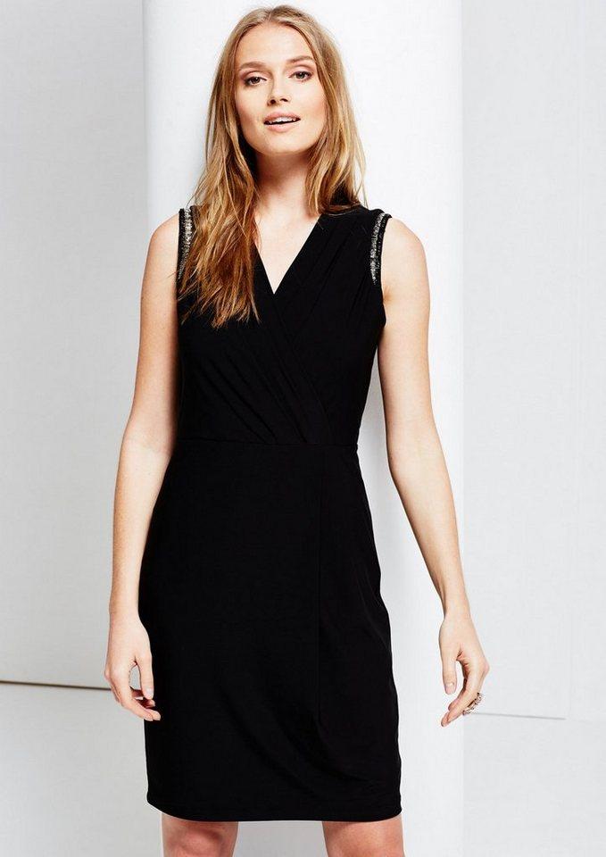 COMMA Glamouröses Cocktailkleid mit Schmuckbesatz in black