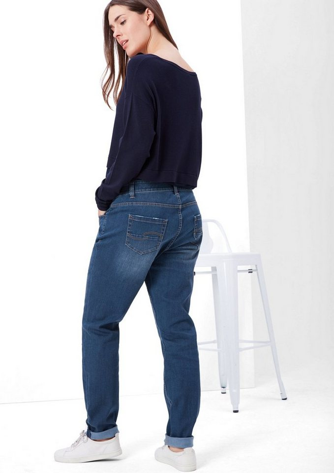 TRIANGLE Fancy Fit: Destroyed-Jeans in blue denim stretch