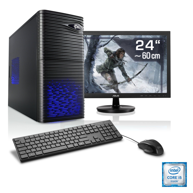 "CSL Gaming PC Set | Core i5-6500 | GTX 1050 Ti | 8 GB RAM | 24"" TFT »Speed T5924 Windows 10 Home«"
