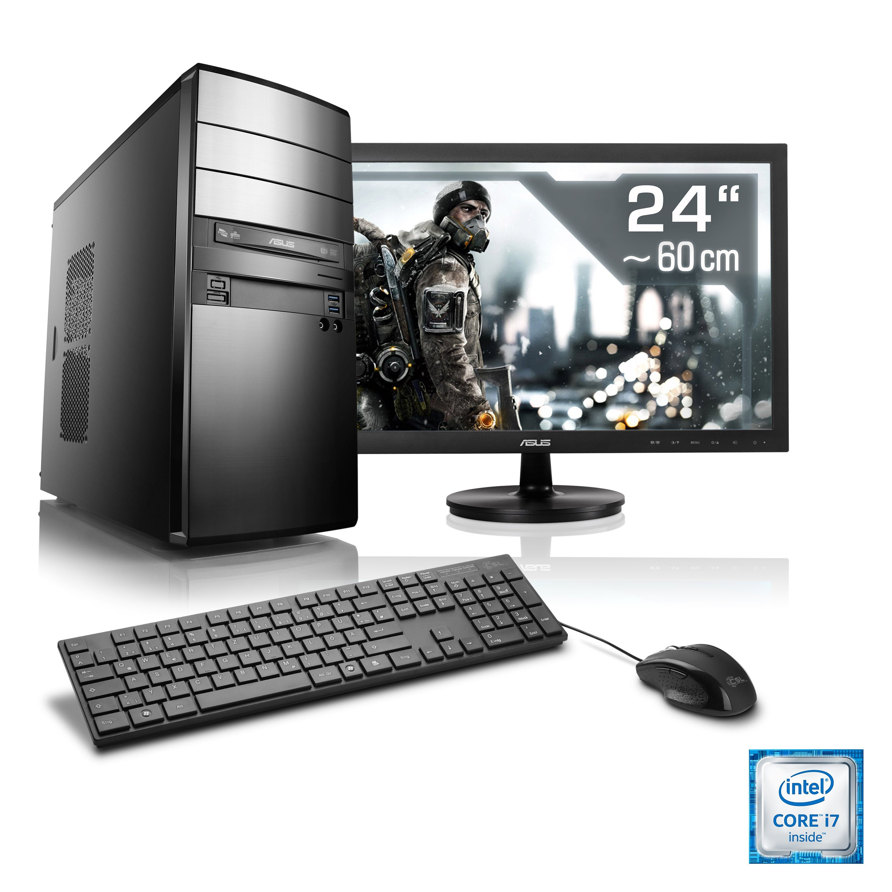"CSL Gaming PC Set | i7-6700 | GeForce GTX 1060 | 16 GB RAM | 24"" TFT »Speed T7689 Windows 10 Home«"