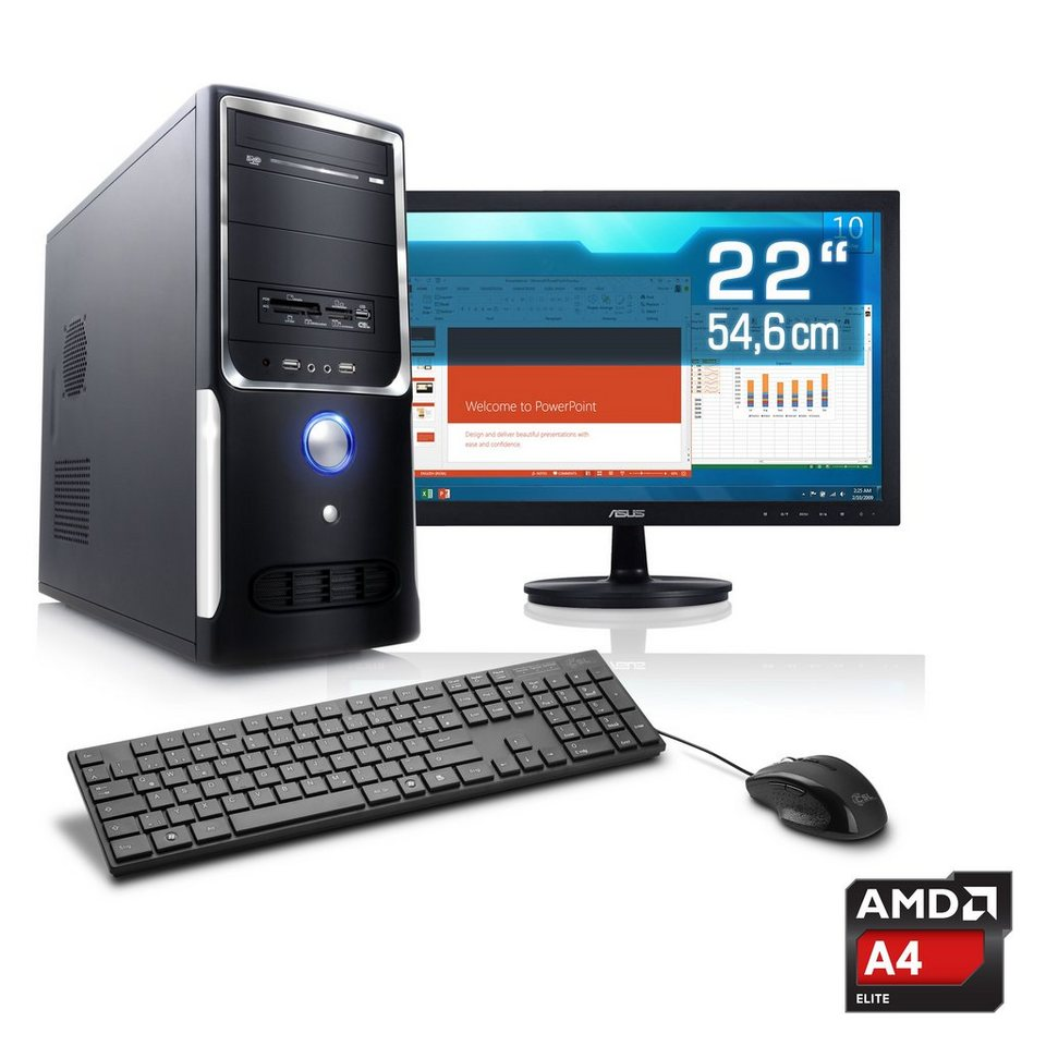 "CSL Office PC Set | AMD A4-5300 | HD 7480D | 4 GB RAM | 22"" TFT »Sprint T2412 Windows 7 Pro« in schwarz"