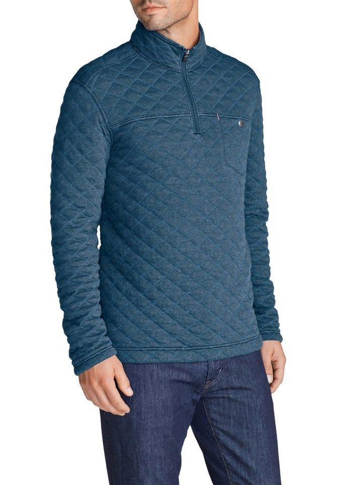 Eddie Bauer Sweatshirt mit Rautensteppung in Blau meliert