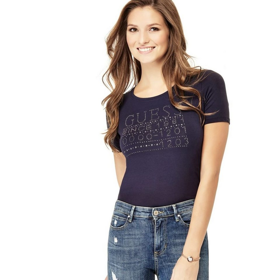 Guess LOGO-T-SHIRT STRASS in Rot