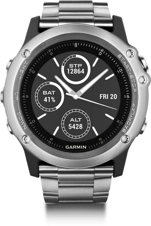 Garmin GPS-Multisportuhr »fenix 3 HR Titanarmband« in Silber-Titan