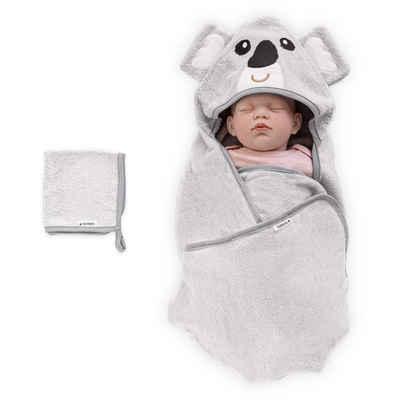 Navaris Kapuzenhandtuch (2-St), Baby Handtuch mit Kapuze und Waschlappen - Set aus Bambus - Badetuch Babyhandtuch