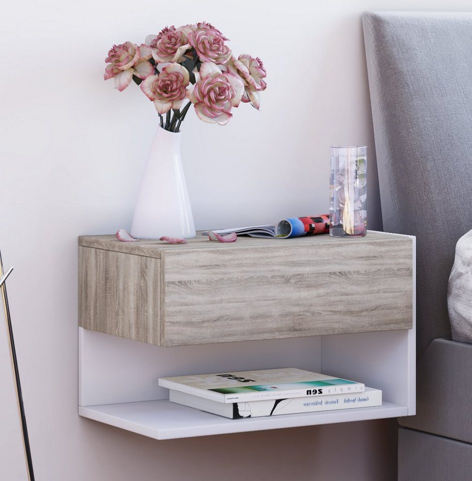 VCM Wand - Nachttisch ´´Dormal´´ | Schlafzimmer > Nachttische | Weiß | VCM