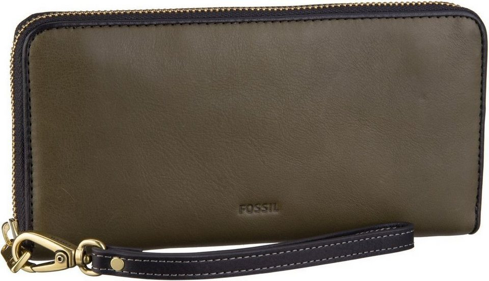 Fossil Emma RFID Large Zip Clutch in Canteen