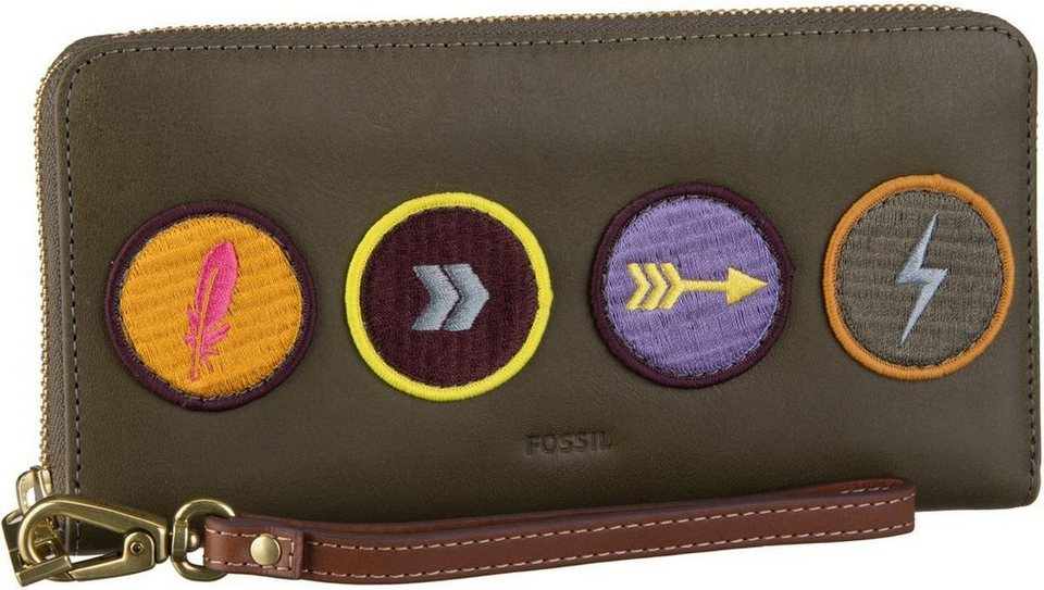 Fossil Emma RFID Large Zip Clutch Applique in Canteen