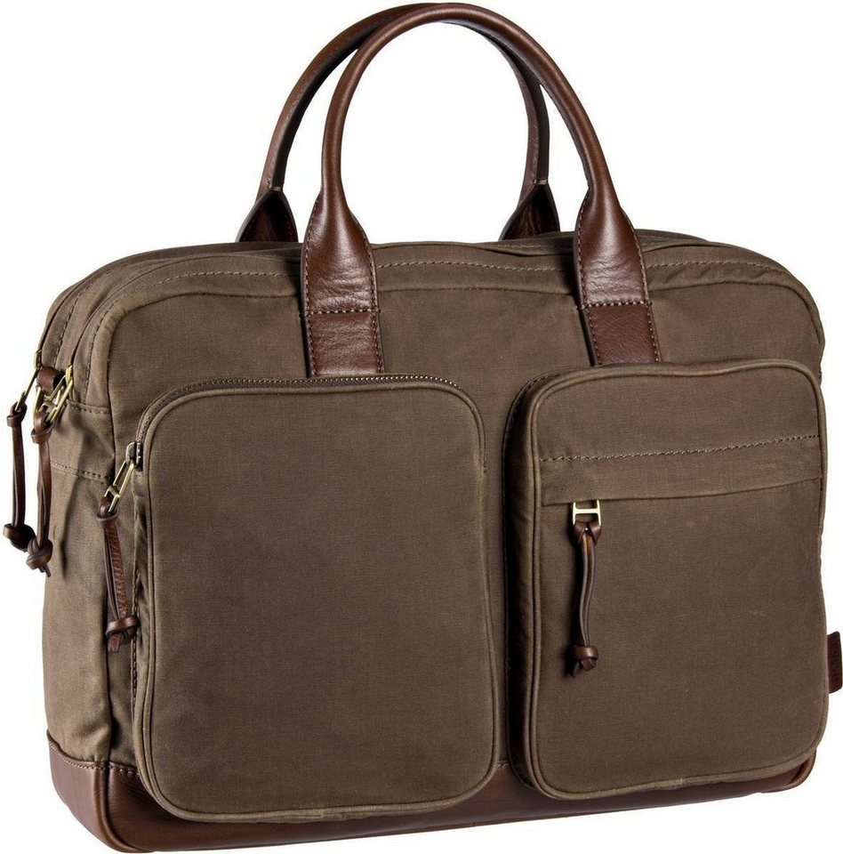 Fossil Defender Double Zip Workbag in Brown
