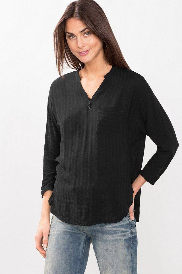 ESPRIT CASUAL Fließende Struktur-Bluse im Henley-Stil in BLACK