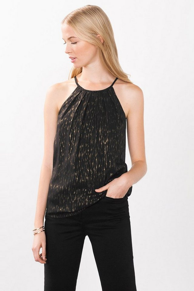 ESPRIT COLLECTION Party Top mit goldenem Tupfendruck in BLACK