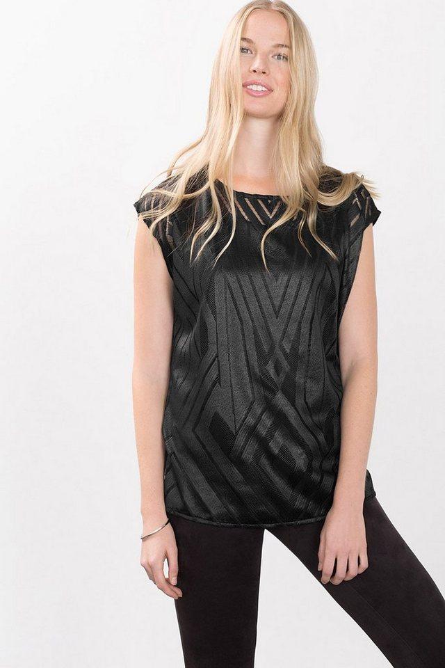 ESPRIT COLLECTION 2in1 mercerisiertes Jacquard Shirt in BLACK