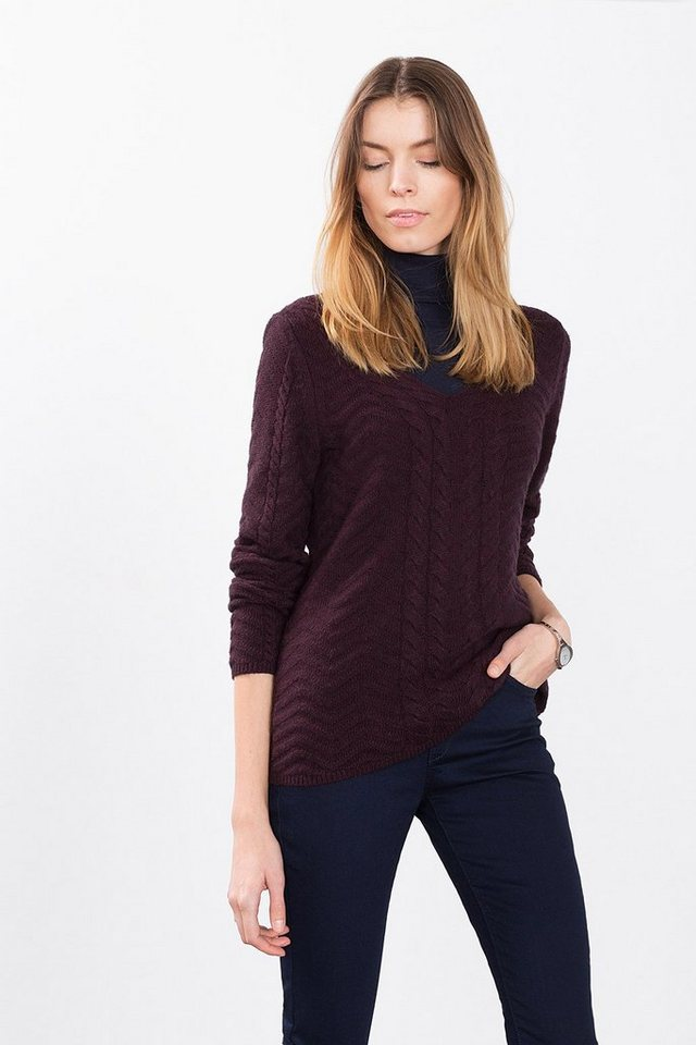 ESPRIT COLLECTION Zopfmuster-Sweater mit Wolle in AUBERGINE
