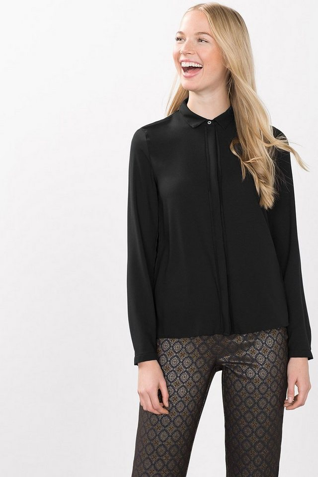 ESPRIT COLLECTION Fließende Crepe Bluse mit Georgette in BLACK