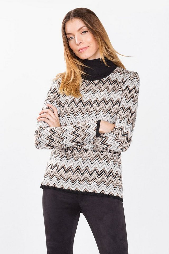ESPRIT COLLECTION Strickpulli mit Zickzackmuster in TAUPE