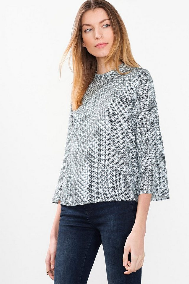 ESPRIT CASUAL Fließende Turtleneck-Bluse mit Print in OFF WHITE