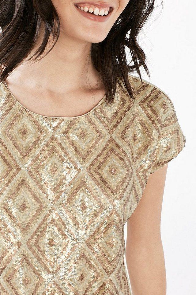 ESPRIT COLLECTION Fließendes Jersey Shirt mit Paillettenfront in ICE