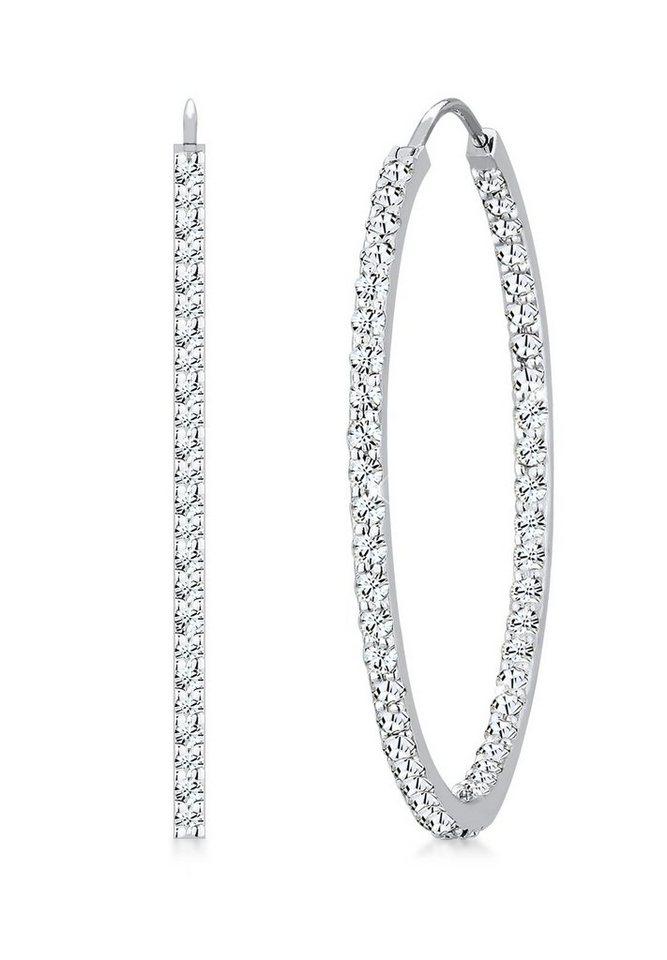 Elli Ohrringe »Creolen Swarovski® Kristalle 925 Sterling Silber« in Weiß