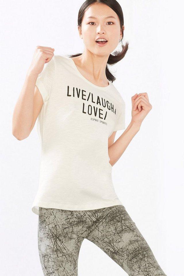 ESPRIT Statement Sport T-Shirt, 100% Baumwolle in OFF WHITE