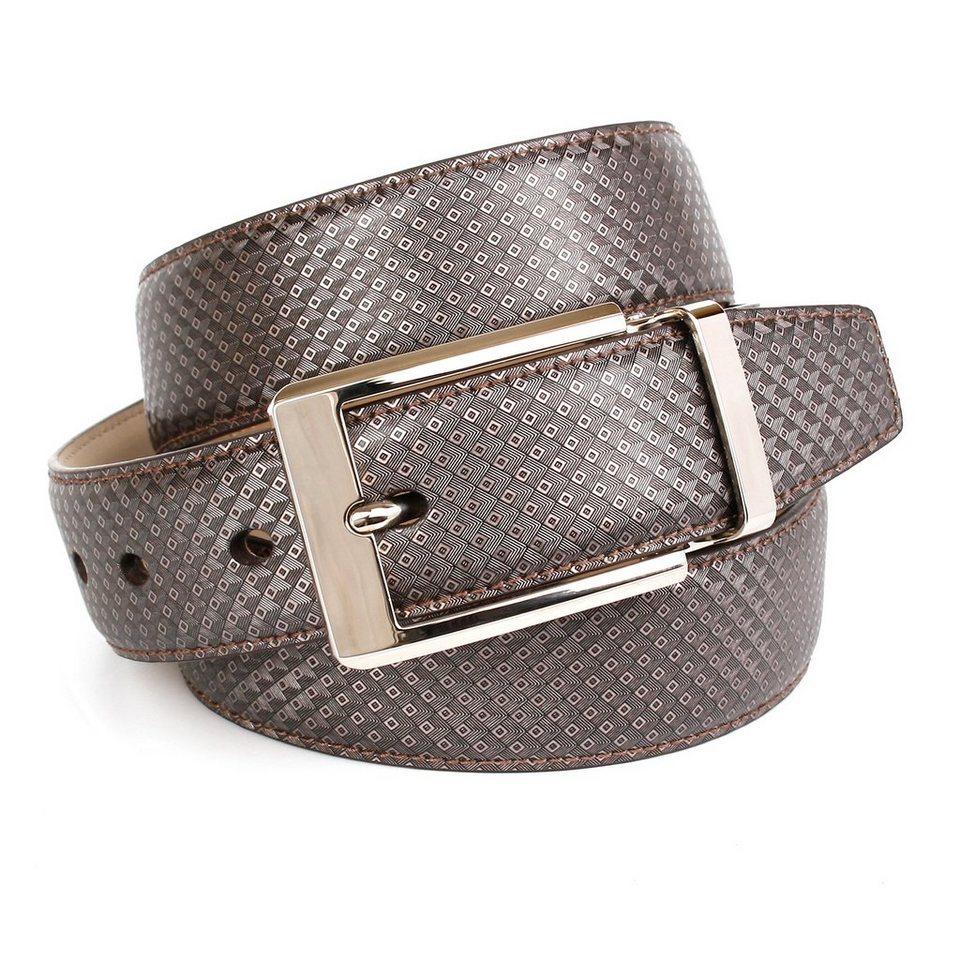 Anthoni Crown Eleganter Ledergürtel mti klassischer Schließe in Grau