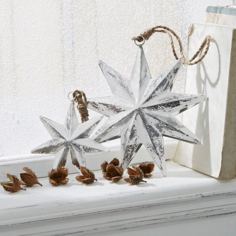 Loberon Weihnachtsschmuck 4er Set »LeBron« in antiksilber/weiß