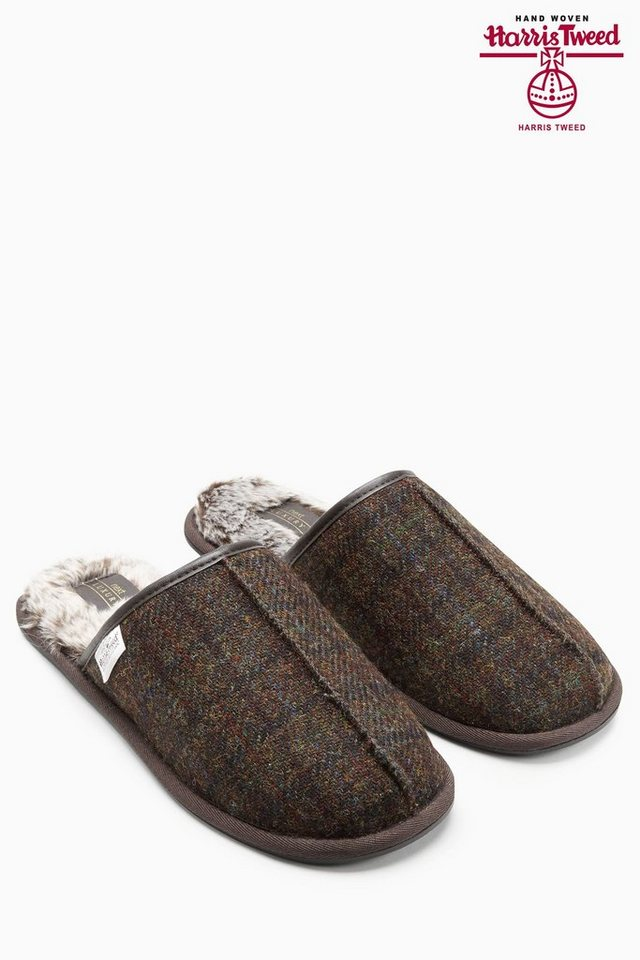 Next Pantolette aus Harris Tweed mit Karomuster in Brown